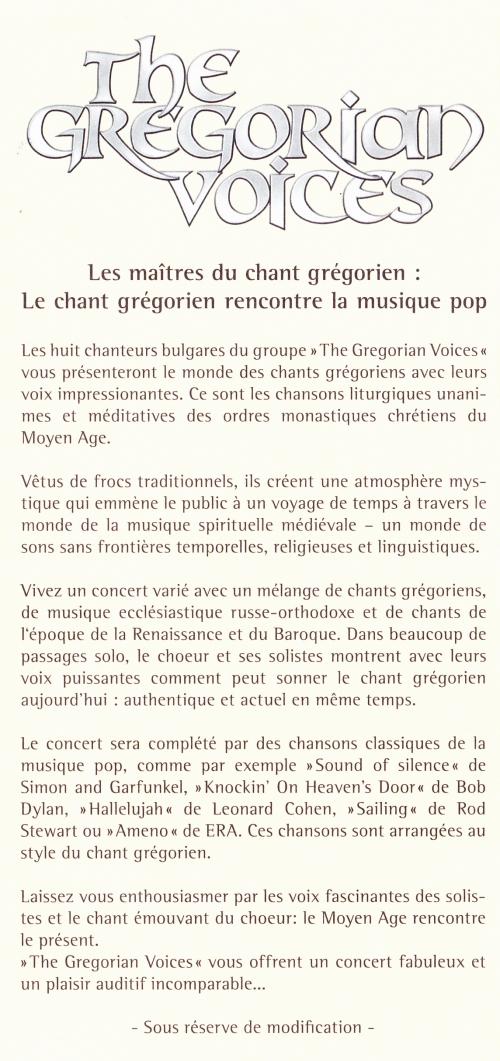 the masters of,gregorian chants,the gregorian voices,metz,église sainte-thérèse,vendredi 24 mai 2013,à20h30,les maîtres du chant grégorien,le chant grégorien rencontre la musique pop