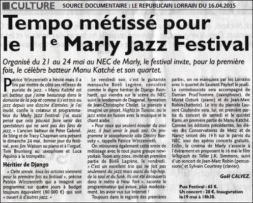 LTC LIVE ANNONCE : MANU KATCHé SERA AU 11ème MARLY JAZZ FESTIVAL.nec,marly,moselle,