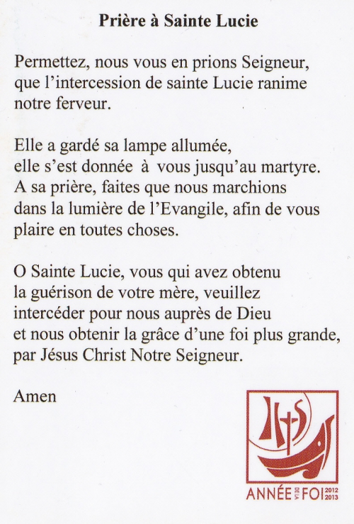 prière à sainte-lucie,