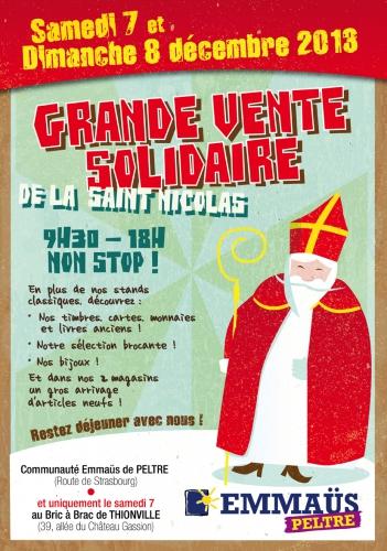 samedi 7 et dimanche 8 décembre 2013,grande vente solidaire,de la saint-nicolas,de 09h30 à 18h00,non stop !,emmaüs peltre,bric à brac de thionville,communauté emmaüs de peltre,possibilité de manger sur place