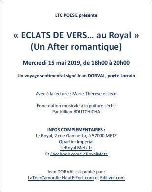 « eclats de vers… à la verrerie »,vendredi 14 juin 2019,à 20h00,un voyage sentimental,signé jean dorval,poète lorrain,avec à la lecture,marie-thérèse,jessica,claire et jean,intermèdes musicaux,jean dorval,metz,centre pompidou metz,lorraine,moselle,tourisme,poésie,vers libres,verlaine,« eclats de vers… au royal »,un after romantique,mercredi 15 mai 2019